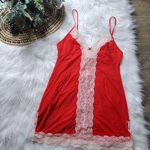 Victorias Secret  Red Satin Lace Babydoll Dress